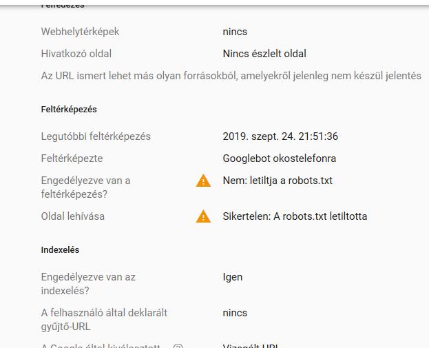 Google search console webhelytérkép letiltás